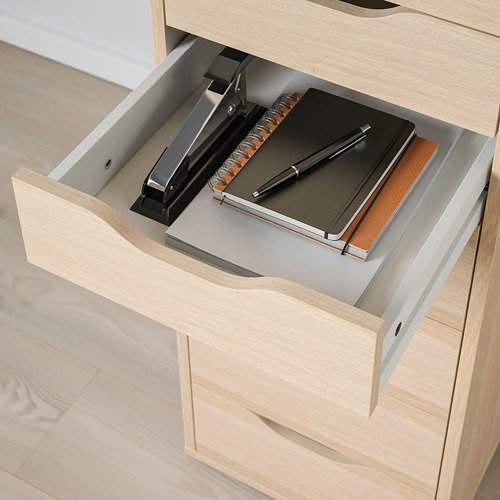 ALEX - drawer unit with 9 drawers, 36x48x116 cm, white stained/oak effect | IKEA Hong Kong and Macau - PE821785_S4