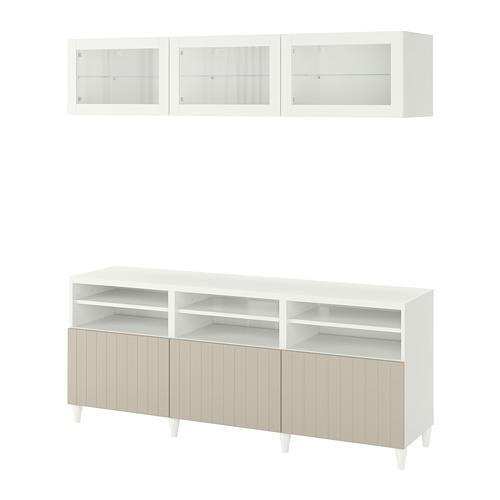 BESTÅ - 電視貯物組合/玻璃門, white Sutterviken/Kabbarp/grey-beige clear glass | IKEA 香港及澳門 - PE782391_S4