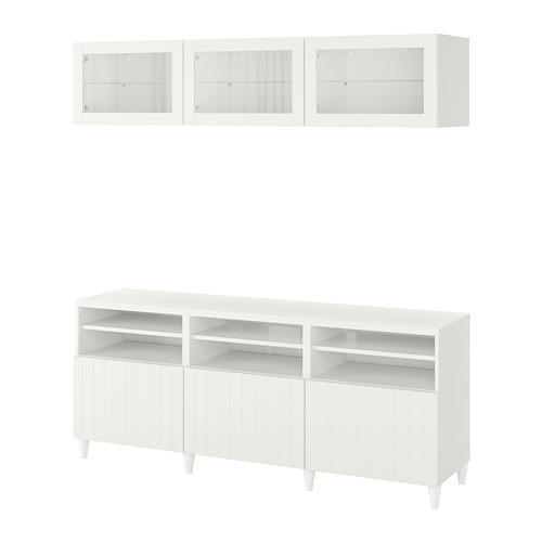 BESTÅ - 電視貯物組合/玻璃門, white/Sutterviken/Kabbarp white clear glass | IKEA 香港及澳門 - PE782390_S4