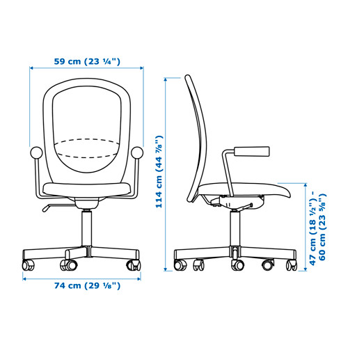 FLINTAN/NOMINELL - office chair with armrests, black | IKEA Hong Kong and Macau - PE628196_S4