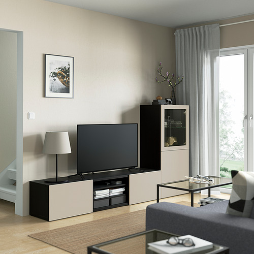 BESTÅ - 電視貯物組合/玻璃門, black-brown Sindvik/Lappviken light grey/beige   IKEA 香港及澳門 - PE821861_S4