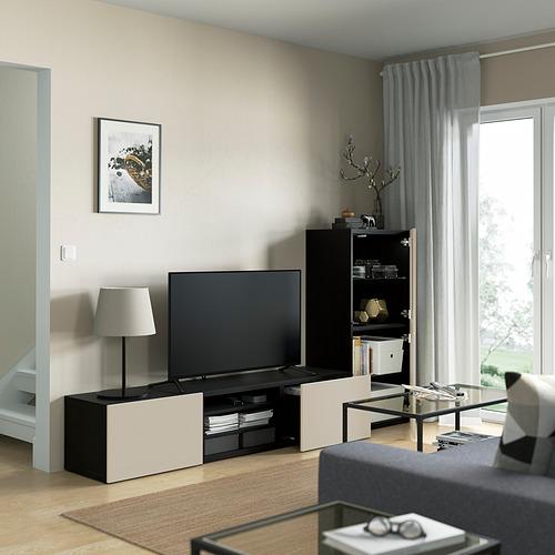 BESTÅ - 電視貯物組合/玻璃門, black-brown Sindvik/Lappviken light grey/beige   IKEA 香港及澳門 - PE821862_S4