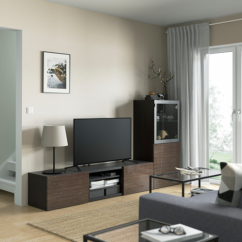 BESTÅ - 電視貯物組合/玻璃門, black-brown/Selsviken high-gloss/brown clear glass   IKEA 香港及澳門 - PE821853_S4