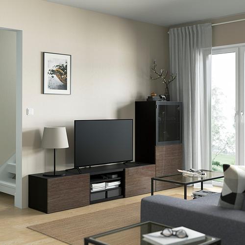 BESTÅ - 電視貯物組合/玻璃門, black-brown/Selsviken high-gloss/brown smoked glass | IKEA 香港及澳門 - PE821877_S4
