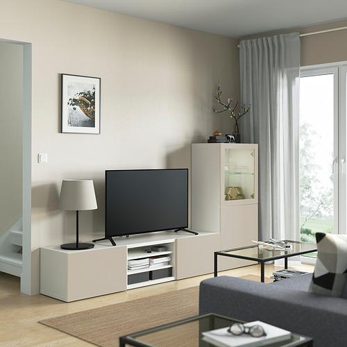 BESTÅ - 電視貯物組合/玻璃門, white Sindvik/Lappviken light grey/beige   IKEA 香港及澳門 - PE821882_S4