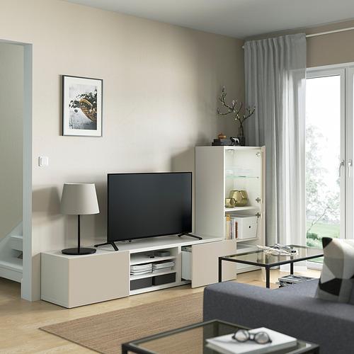 BESTÅ - 電視貯物組合/玻璃門, white Sindvik/Lappviken light grey/beige   IKEA 香港及澳門 - PE821897_S4