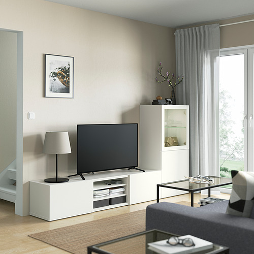 BESTÅ - 電視貯物組合/玻璃門, white/Lappviken white clear glass | IKEA 香港及澳門 - PE821884_S4