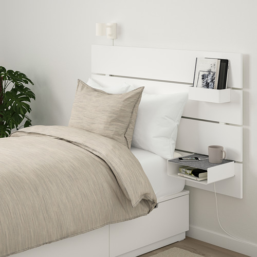 NORDLI bed frame w storage and headboard, white, Mattress size 90x200cm