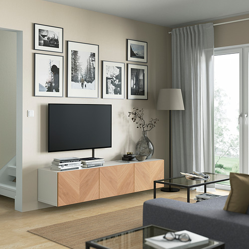 BESTÅ - TV bench with doors, white/Hedeviken oak veneer | IKEA Hong Kong and Macau - PE821916_S4