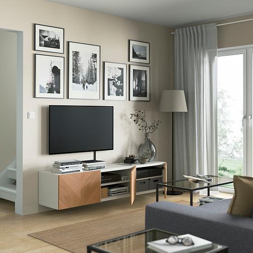 BESTÅ - TV bench with doors, white/Hedeviken oak veneer | IKEA Hong Kong and Macau - PE821951_S4