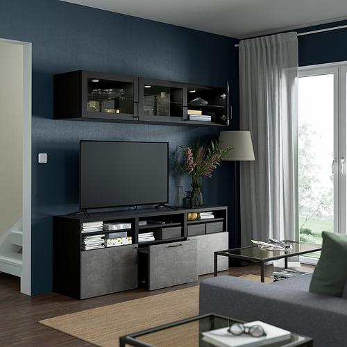 BESTÅ - 電視貯物組合/玻璃門, black-brown Sindvik/Kallviken dark grey   IKEA 香港及澳門 - PE822001_S4