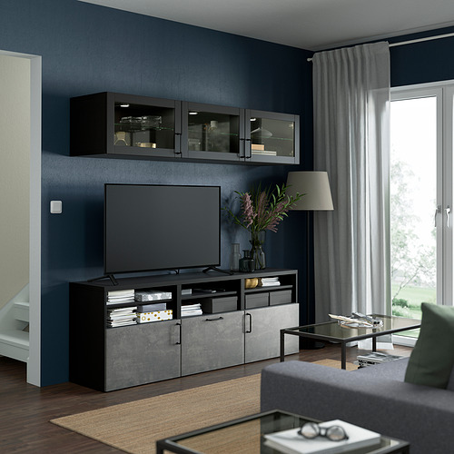 BESTÅ - 電視貯物組合/玻璃門, black-brown Sindvik/Kallviken dark grey   IKEA 香港及澳門 - PE822009_S4
