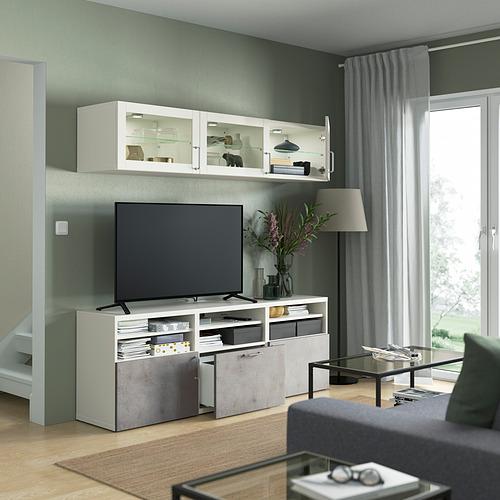 BESTÅ - 電視貯物組合/玻璃門, white Sindvik/Kallviken light grey | IKEA 香港及澳門 - PE822037_S4