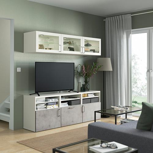 BESTÅ - 電視貯物組合/玻璃門, white Sindvik/Kallviken light grey | IKEA 香港及澳門 - PE822054_S4