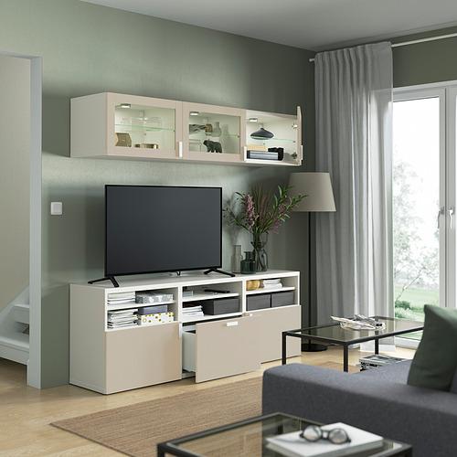 BESTÅ - 電視貯物組合/玻璃門, white Sindvik/Lappviken light grey/beige   IKEA 香港及澳門 - PE822038_S4