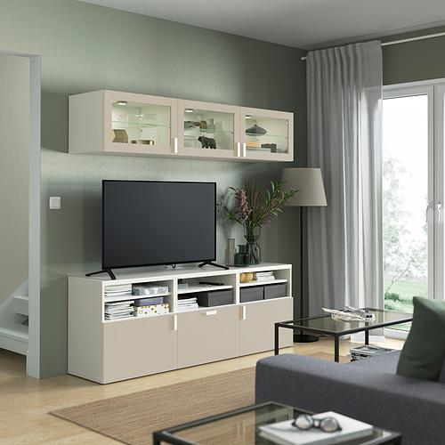 BESTÅ - 電視貯物組合/玻璃門, white Sindvik/Lappviken light grey/beige   IKEA 香港及澳門 - PE822016_S4