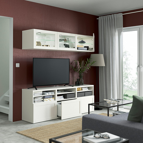 BESTÅ - 電視貯物組合/玻璃門, white/Hanviken white clear glass   IKEA 香港及澳門 - PE821999_S4