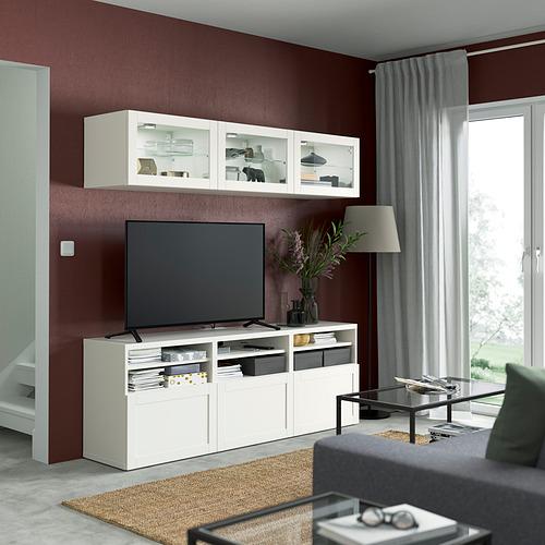 BESTÅ - 電視貯物組合/玻璃門, white/Hanviken white clear glass   IKEA 香港及澳門 - PE822000_S4