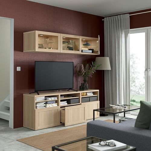 BESTÅ - 電視貯物組合/玻璃門, white stained oak effect Sindvik/Hanviken white stained oak eff clear glass | IKEA 香港及澳門 - PE822047_S4