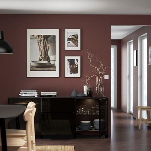 BESTÅ - 貯物組合連抽屜, black-brown/Selsviken/Stubbarp high-gloss/black smoked glass | IKEA 香港及澳門 - PE822184_S4