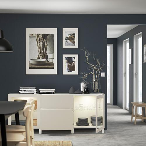 BESTÅ - 貯物組合連抽屜, white Lappviken/Stubbarp/light grey-beige clear glass | IKEA 香港及澳門 - PE822220_S4