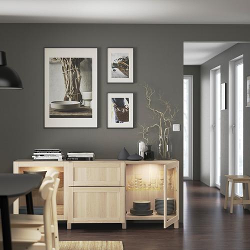 BESTÅ - 貯物組合連抽屜, white stained oak effect Hanviken/Sindvik/Stubbarp white stained oak eff clear glass | IKEA 香港及澳門 - PE822210_S4