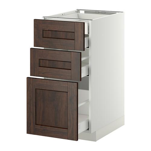 METOD - base cb 3 frnts/2 low/1 md/1 hi drw, white Maximera/Edserum brown | IKEA Hong Kong and Macau - PE350352_S4