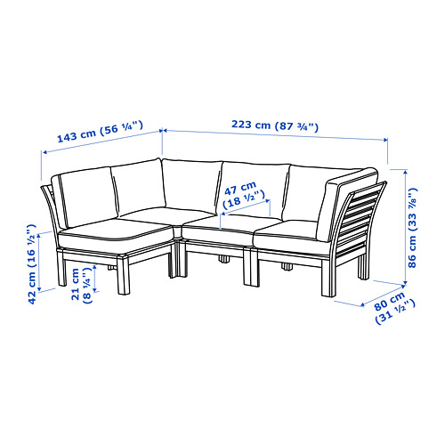 ÄPPLARÖ modular corner sofa 3-seat, outdoor