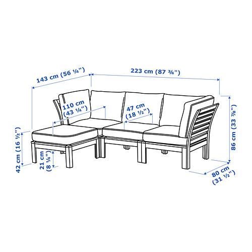 ÄPPLARÖ - 3-seat modular sofa, outdoor, with footstool brown stained/Järpön/Duvholmen anthracite | IKEA Hong Kong and Macau - PE766555_S4