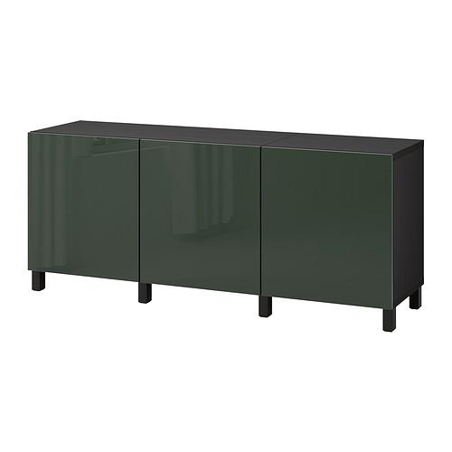 BESTÅ - 貯物組合連門, black-brown Selsviken/Stubbarp/high-gloss dark olive-green | IKEA 香港及澳門 - PE822455_S4