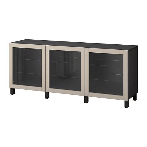 BESTÅ - 貯物組合連門, black-brown Sindvik/Stubbarp/light grey-beige clear glass   IKEA 香港及澳門 - PE822480_S4