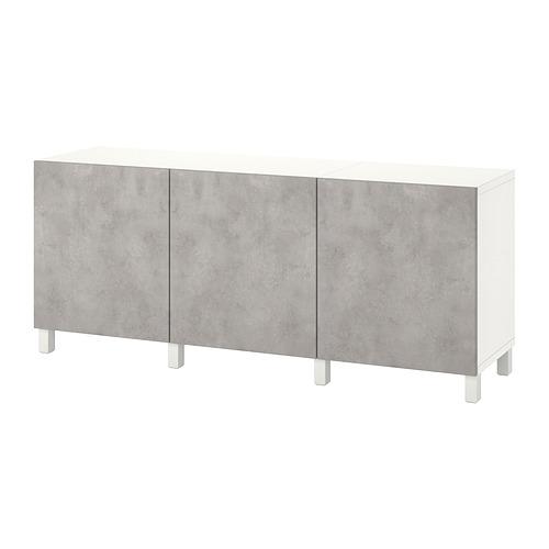BESTÅ - 貯物組合連門, white Kallviken/Stubbarp/light grey concrete effect | IKEA 香港及澳門 - PE822454_S4