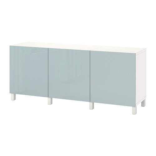 BESTÅ - 貯物組合連門, white Selsviken/Stubbarp/high-gloss light grey-blue | IKEA 香港及澳門 - PE822462_S4