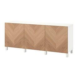 BESTÅ - storage combination with doors, white/Hedeviken/Stubbarp oak veneer | IKEA Hong Kong and Macau - PE822466_S3