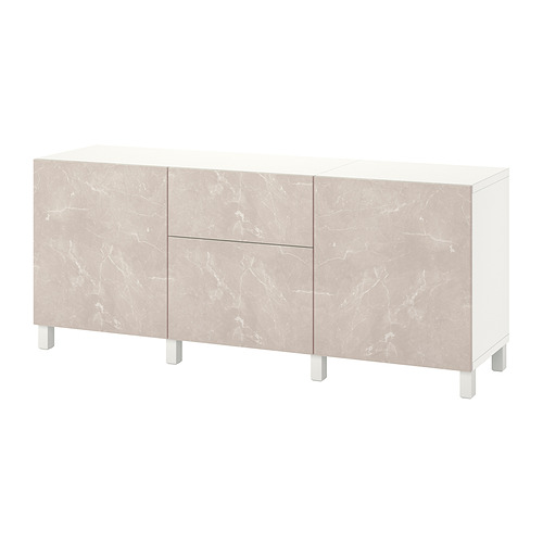 BESTÅ - 貯物組合連抽屜, white Bergsviken/Stubbarp/beige marble effect | IKEA 香港及澳門 - PE822506_S4