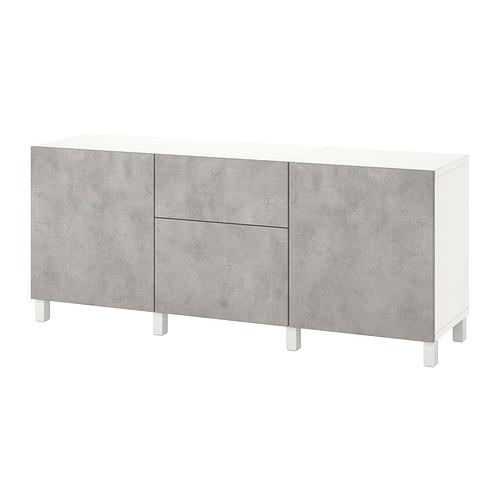 BESTÅ - 貯物組合連抽屜, white Kallviken/light grey concrete effect   IKEA 香港及澳門 - PE822512_S4