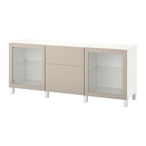 BESTÅ - 貯物組合連抽屜, white Lappviken/Stubbarp/light grey-beige clear glass | IKEA 香港及澳門 - PE822514_S4