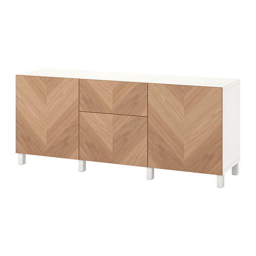 BESTÅ - 貯物組合連抽屜, white/Hedeviken/Stubbarp oak veneer   IKEA 香港及澳門 - PE822508_S4