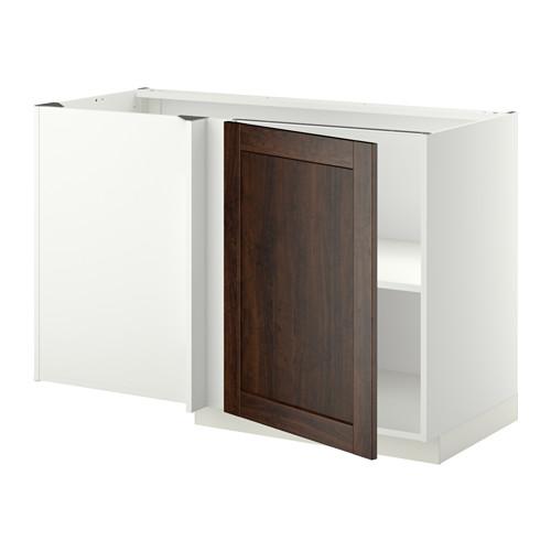METOD - corner base cabinet with shelf, white/Edserum brown | IKEA Hong Kong and Macau - PE352249_S4