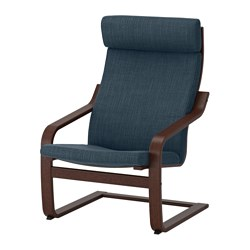 POÄNG - armchair, brown/Hillared dark blue | IKEA Hong Kong and Macau - PE628987_S3
