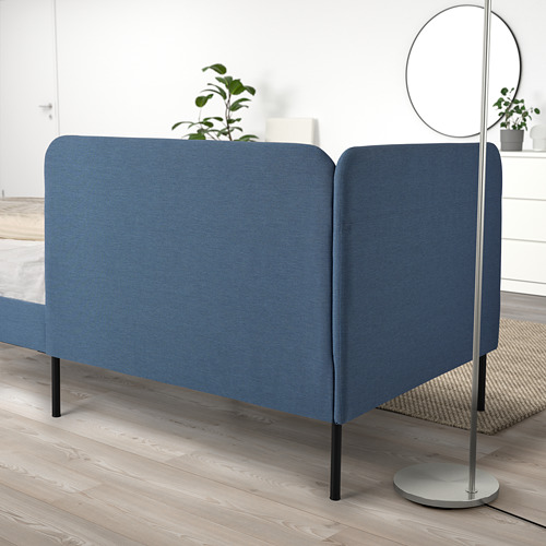 BLÅKULLEN - uph bed frame with corner headboard, Knisa medium blue | IKEA 香港及澳門 - PE822609_S4