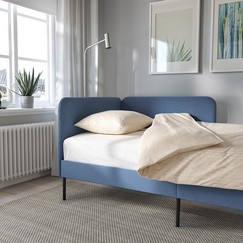 BLÅKULLEN - uph bed frame with corner headboard, Knisa medium blue | IKEA 香港及澳門 - PE822608_S4