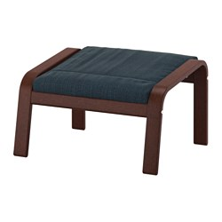 POÄNG - footstool, brown/Hillared dark blue | IKEA Hong Kong and Macau - PE629098_S3
