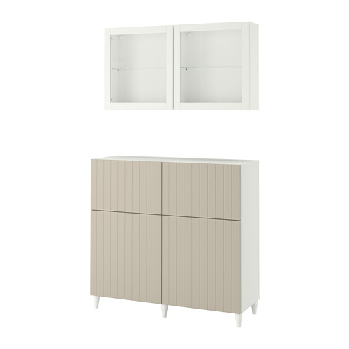 BESTÅ - 貯物組合連門/抽屜, white Sutterviken/Kabbarp/grey-beige clear glass | IKEA 香港及澳門 - PE782445_S4