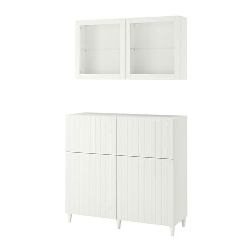 BESTÅ - 貯物組合連門/抽屜, white/Sutterviken/Kabbarp white clear glass | IKEA 香港及澳門 - PE782444_S4