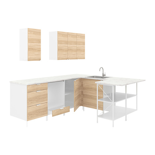 ENHET - 角位廚房, 白色/橡木紋 | IKEA 香港及澳門 - PE822976_S4