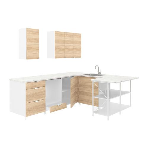 ENHET - 角位廚房, 白色/橡木紋 | IKEA 香港及澳門 - PE822978_S4
