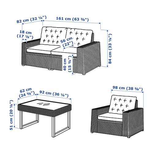 SOLLERÖN - 4-seat conversation set, outdoor, brown/Kuddarna beige | IKEA Hong Kong and Macau - PE767309_S4