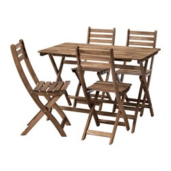 ASKHOLMEN - table+4 chairs, outdoor, grey-brown stained | IKEA Hong Kong and Macau - PE629761_S3