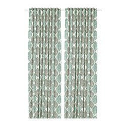 FJÄDERKLINT - 窗簾,一對, 白色/綠色 | IKEA 香港及澳門 - PE677779_S3